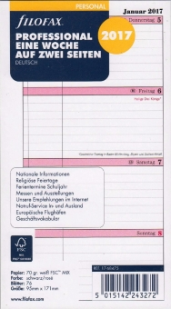 Filofax A5 Kalender 2017 1Tag/1Seite Multifit DEU Kalendarium 7-21 Uhr  17-68546