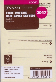 Filofax Pocket 2017 1Woche/2Seiten cotton cream DEU A7 Kalender Einlage 17-68258