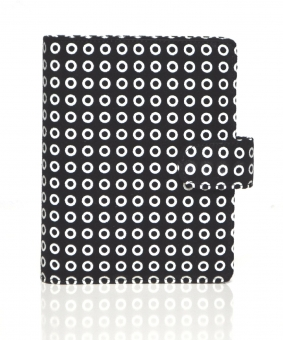 Succes Dots Junior Schwarz / Weiß 15mm Leder Organiser A7 Terminplaner PJ212DO02