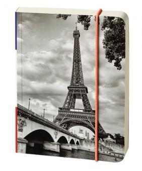 bsb Notizbuch A6 liniert Paris/Eifelturm Tagebuch Gummibandverschluss 910-004