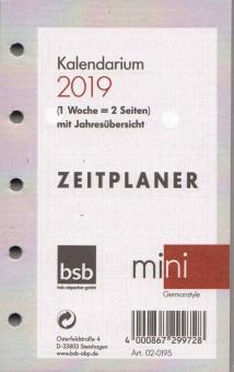 bsb Mini A8 Kalender Einlage 2019 1Woche/2Seiten Kalendarium Deutsch 02-0195