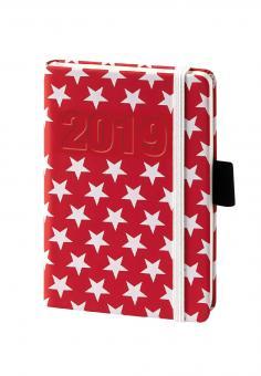 bsb V-Book A6 Rot/Weiß Sterne 2019 Buchkalender 1Woche/2Seiten Kalender 02-0141