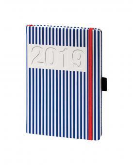 bsb V-Book A5 Blau/Weiß Streifen 2019 Buchkalender 1Woche/2Seiten multi 02-0154