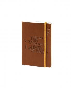 bsb V-Book A6 Braun mit Spruch 2019 Buchkalender 1Woche/2Seiten Kalender 02-0155
