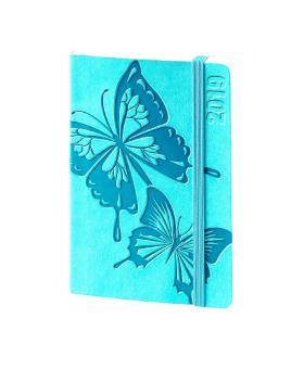bsb V-Book A6 Schmetterlinge Türkis 2019 Terminkalender 1Woche/2Seiten 02-0156