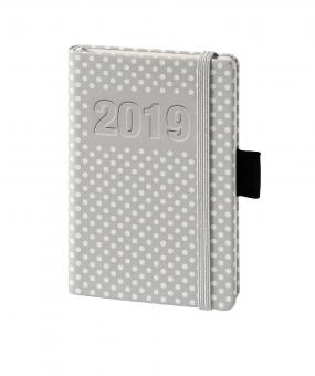 bsb V-Book A6 Grau/Weiß Punkte 2019 Buchkalender 1Woche/2Seiten Kalender 02-0192