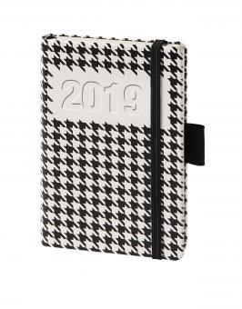 bsb V-Book A6 Schwarz/Weiß Hahnentritt 2019 Buchkalender 1Woche/2Seiten 02-0194