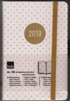 bsb V-Book A6 Weiß/Gold Punkte 2019 Buchkalender 1Woche/2Seiten Kalender 02-0222