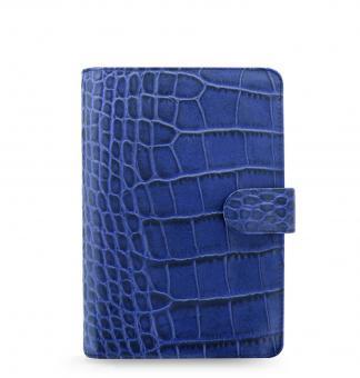 Filofax Classic Croc Personal Indigo Blau Organiser Kalbleder A6 Kalender 026008