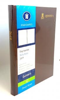 RYAM 2019 Quintet 4 Braun A4 Terminkalender 1Tag/1Seite weiß 6-sprachig 86754033