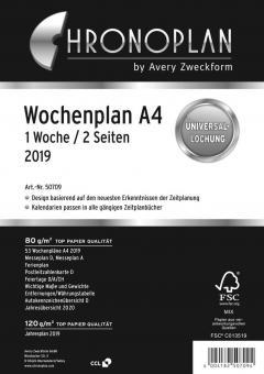 Chronoplan A4 Wochenplaner 2019 Kalender Einlage 1Woche/2Seiten Deutsch 50709