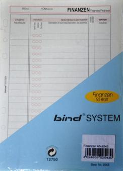 BIND System A5 FINANZEN Ausgaben Terminplaner Kalender Einlagen 50 Blatt B2543