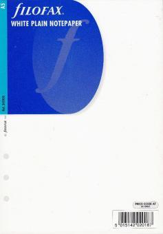 Filofax A5 Organizer Zusatz Einlage Notizpapier BLANKO weiß 25 Blatt 342405