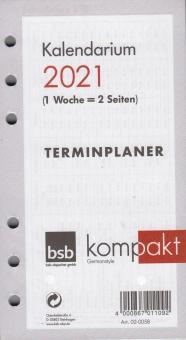 bsb A6 2021 Kalender Einlage 1Woche 2Seiten Wochenkalender Kalendarium  02-0058