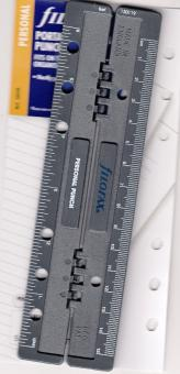 Filofax Personal 6fach Locher mit Lineal Einheftbar grau Kunststoff 130119