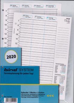 Bind System A4 2020 Kalender Kalendarium 1Woche 2Seiten Wochenblätter B540220