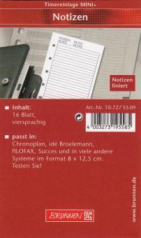 Brunnen Mini+ Timereinlage Notizen Liniert 16 Blatt für A7 Organizer 10-7275509