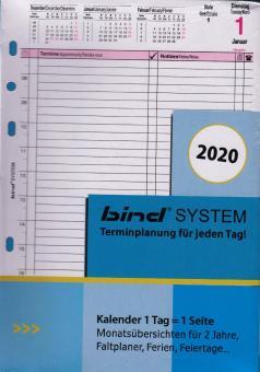 Bind System A5 2020 Tageskalender 1T/1S Kalender Einlage weiß 3-sprachig B550320