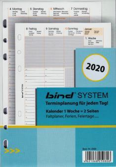 Bind System A5 2020 Kalender Einlage 1W/2S Wochenblätter weiß 6-sprachig B250820