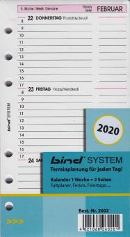 Bind System A6 2020 Kalender Kalendarium 1Woche 2Seiten Wochenblätter B260220