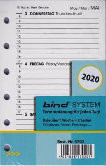 Bind System A7 2020 Kalender Einlage 1W/2S Wochenblätter weiß 3-sprachig B570220
