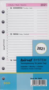 Bind System A6 2021 Kalender Kalendarium 1Woche 2Seiten Wochenblätter B260221