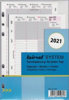 Bind System A5 2021 Kalendereinlage Kalender 1Woche 2Seiten Wochenblätter 250821