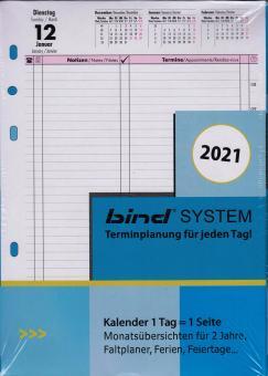 Bind System A5 2021 Kalendereinlage Tageskalender 1Tag 1Seite Kalender B550321