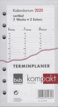 bsb A6 2020 Kalender Einlage Wochen Kalendarium 1Woche 2Seiten vertikal 02-0094