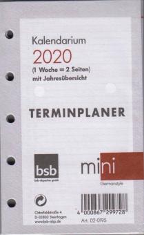 bsb 2020 Mini A8 Kalender Einlage Wochentimer 1Woche 2Seiten Kalendarium 02-0195