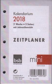 bsb Mini A8 Kalendereinlage 2018 1Woche/2Seiten mit Leporello Deutsch 02-0195