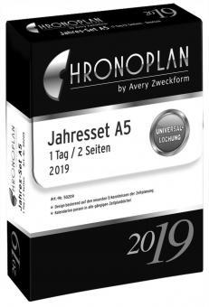 Chronoplan A5 Tagesplan 2019 Jahres-Set 1 Tag / 2 Seiten Kalender Einlage 50209
