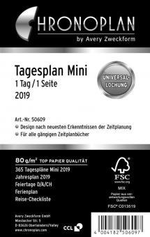 Chronoplan Mini  A7 Tagesplaner 2019 Kalender Einlage 1Tag/1Seite Deutsch 50609