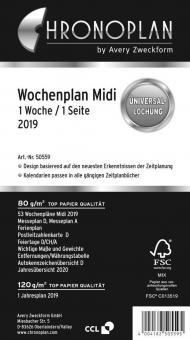 Chronoplan Midi A6 Wochenplan 2019 1Woche/1Seite Deutsch Kalender Einlage 50559