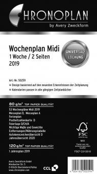 Chronoplan Midi A6 Wochenplan 2019 1Woche/2Seiten Deutsch Kalender Einlage 50259
