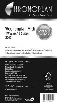 Chronoplan Midi A6 Wochenplaner 2019 1Woche/2Seiten DEU vertikal Kalender 50549