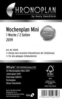 Chronoplan Mini  A7 2019 Kalender Einlage 1Woche/2Seiten Deutsch Leporello 50619