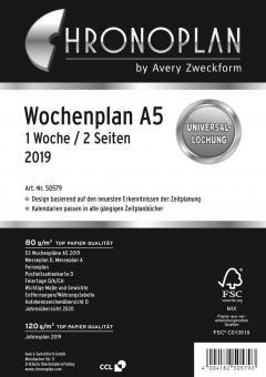 Chronoplan A5 Wochenplaner 2019 Kalender Einlage 1Woche/2Seiten Deutsch 50579