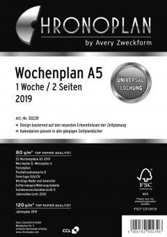 Chronoplan A5 Wochenplan 2019 1Woche/2Seiten vertikal Deu Kalender Einlage 50239