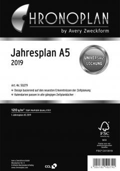 Chronoplan Jahresplan DIN A5 Universallochung 2019 2 Blatt Leporello 50279