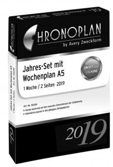 Chronoplan A5 Jahres-Set Wochenplaner 2019 1Woche/2Seiten vertikal Deutsch 50299