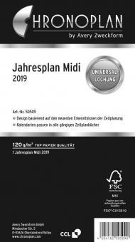 Chronoplan Midi / A6 Jahresplaner 2019 Kalender Einlage Deutsch Leporello 50509