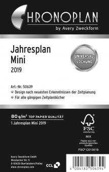 Chronoplan Mini / A7 Jahresplaner 2019 Kalender Einlage Deutsch Leporello 50639