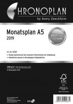 Chronoplan A5 Monatsplaner 2019 Leporello ausklappbar weiß 24Blatt Deutsch 50289