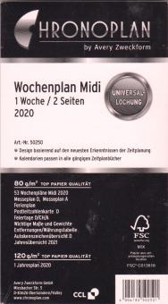 Chronoplan 2020 Midi A6 Wochenblätter 1Woche 2Seiten Kalender + Leporello 50250