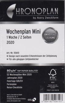 Chronoplan 2020 Mini A7 Kalender Wochenblätter 1Woche 2Seiten + Leporello 50610