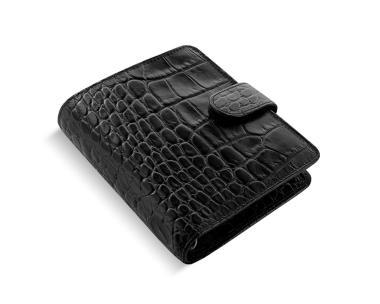 Filofax Classic Croc Pocket Ebony Schwarz Organizer Kalbleder A7 Kalender 026074