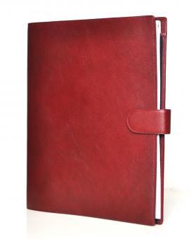 Succes A4 Leder Schreibmappe Konferenzmappe Deluxe Rot + Ringmechanik PB132DL12