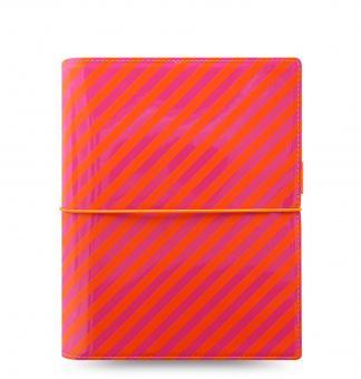 Filofax Domino Patent A5 Orange / Pink Stripes 30mm Terminplaner Organizer 22574