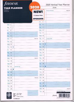 Filofax A4 Jahresplaner 2020 Kalender Einlage Faltplaner weiß vertikal 20-68702